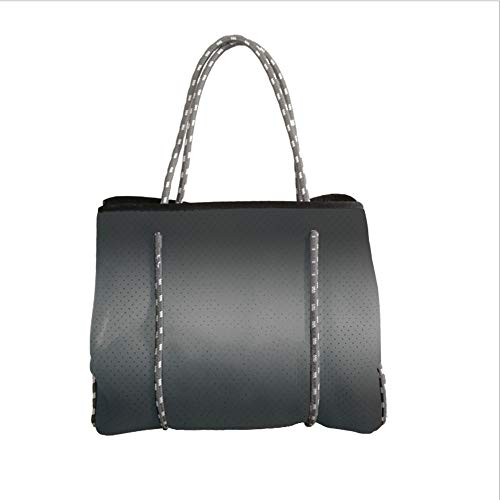 iPrint Neoprene Multipurpose Beach Bag Tote Bags,Ombre,Fume Fog Dark Smoke Industry Theme Inspired Dark Gray Colored Modern Design Artprint,Dark Grey,Women Casual Handbag Tote Bags
