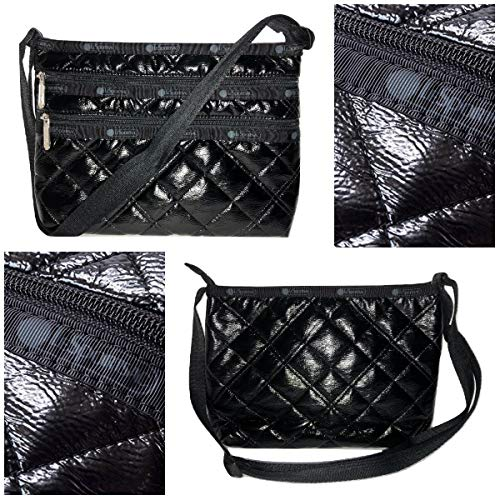 LeSportsac Black Crinkle Quilted Patent Quinn Crossbody Handbag, Style 3352/Color H026