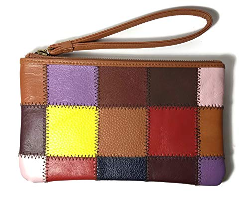 KOOBA Mylti Color Patch Z/A Zip Wristlet Wallet