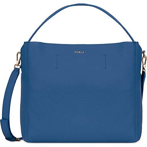 Furla Capriccio Ladies Medium Blue Genziana Leather Hobo Bag 961739