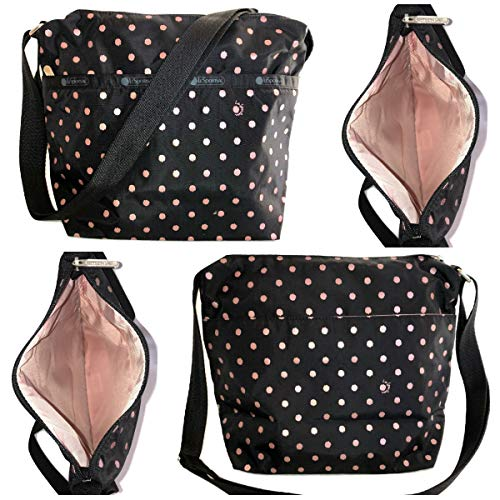 LeSportsac Rose Speckle Dot Small Cleo Crossbody Handbag, Style 7562/Color D955 (Metallic Rose Gold Speckles)