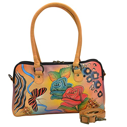 Anna By Anuschka Women's Leather Handpainted Satchel, Rose Safari
