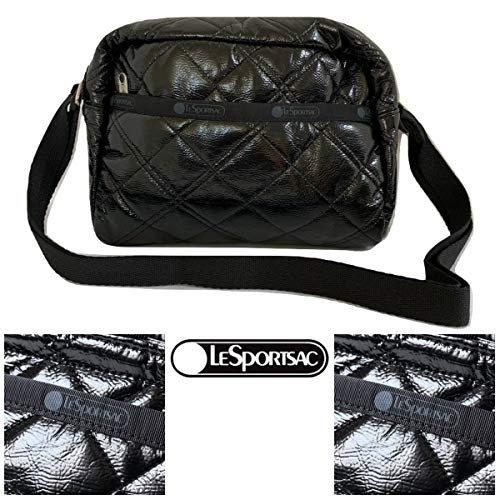 LeSportsac Black Crinkle Quilted Patent Daniella Crossbody Handbag, Style 2434/Color H026
