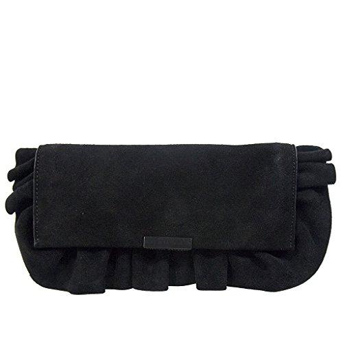 Loeffler Randall Smooth Suede Leather Ruffle Slim Tab Clutch – Black