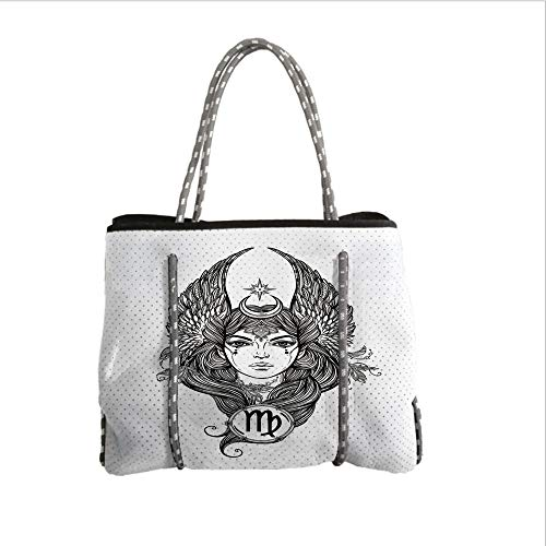 iPrint Neoprene Multipurpose Beach Bag Tote Bags,Virgo,Black and White Monochrome Drawing of a Woman with Long Hair and Wings Horoscope Decorative,Black White,Women Casual Handbag Tote Bags