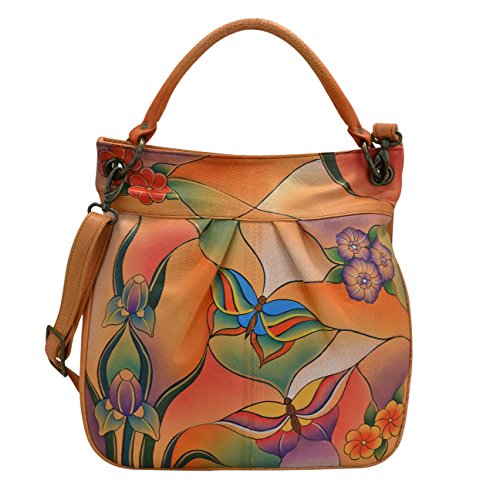 Anna By Anuschka Women's Leather Handpainted Tote, Butterfly Glass Painting