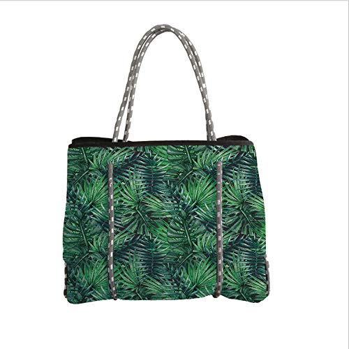 Neoprene Multipurpose Beach Bag Tote Bags,Leaf,Watercolored Old Design Print of Palm Tropic Exotic Forest Leaves Decorative,Dark Green and Forest Green,Women Casual Handbag Tote Bags