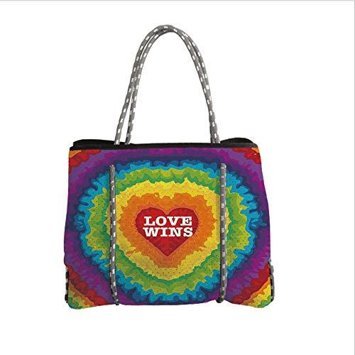 Neoprene Multipurpose Beach Bag Tote Bags,Pride Decorations,Love Wins Celebration Tie Dye Backdrop Rainbow Colors Happiness Vintage,Multicolor,Women Casual Handbag Tote Bags