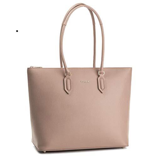 Furla Pin Large Leather Shopping Shoulder bag, Moonstone