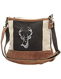 Myra Bags Reindeer Upcycled Canvas Crossbody Bag S-1033
