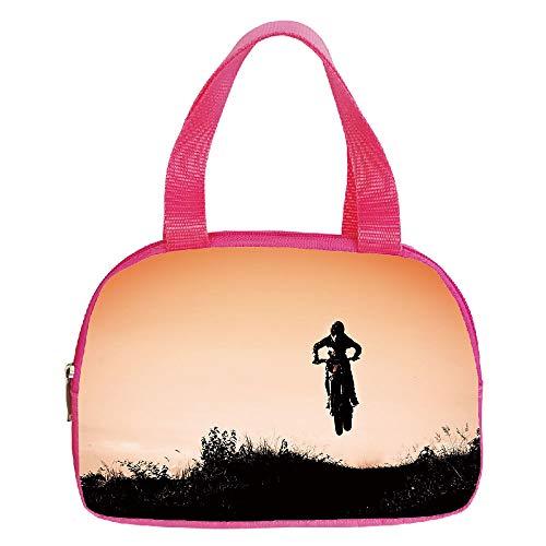 Polychromatic Optional Small Handbag Pink,Teen Room Decor,Motorcycle Jumping Over Hills Horizon Sports Hobby Scenery,Salmon Vermilion Seal Brown,for Girls,Print Design.6.3″x9.4″x1.6″