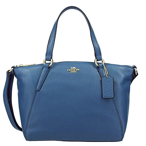 Coach Pebble Leather Mini Kelsey Satchel Crossbody Handbag Ink Blue