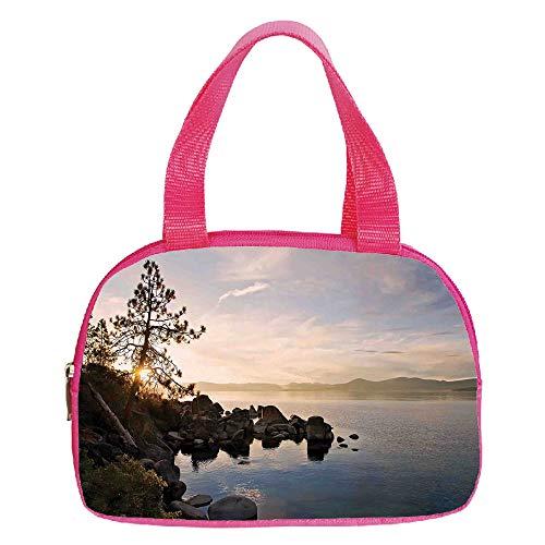 Polychromatic Optional Small Handbag Pink,Americana Landscape Decor,Majestic Waterfall River Argentinean Falls Natural Wonders Scenery,Multi,for Girls,Print Design.6.3″x9.4″x1.6″