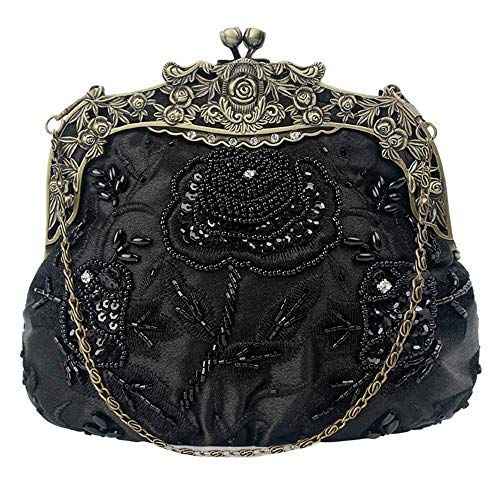 RMXMY European and American Fashion Women Clutch,Vintage Beaded Sequin Evening Handbag Purse Wedding Bag Shoulder Bag Handbag Evening Bag