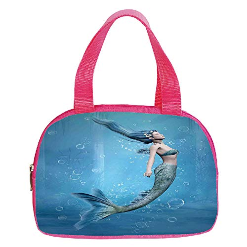 Multiple Picture Printing Small Handbag Pink,Blue,Water Droplets Bubbles of Air Aquatic Fresh Simple Pattern Splashes Waves Ocean Decorative,Blue Aqua White,for Girls,Comfortable Design.6.3″x9.4″x1.6″