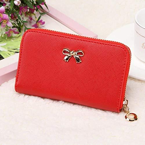 2015 Women Korean Cute Bowknot Purse Solid Wearable Short Wallet Handbag VFORU (Color – Red)
