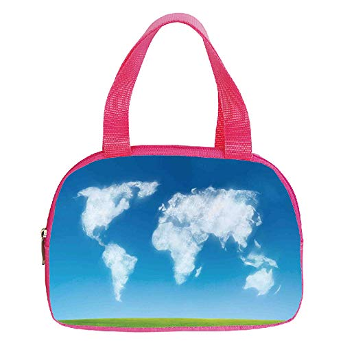Polychromatic Optional Small Handbag Pink,World Map,Graphic Design of Shaped Clouds in The Sky with Colors Nature Art Print Decorative,Blue Green White,for Girls,Print Design.6.3″x9.4″x1.6″