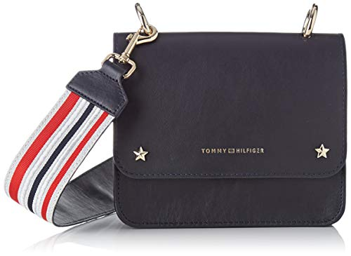 Tommy Hilfiger Leather Mini Crossover, Women's Cross-Body Bag, Blue (Tommy Navy), 6x17x19 cm (B x H T)
