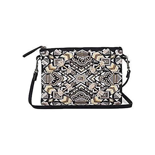 Lucky Brand Handbag Art Deco Embroideried Pouch Crossbody Bag Clutch Beaded Black