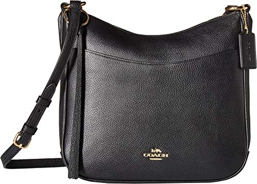 COACH Women's Polished Pebble Leather Chaise Crossbody Gold/Black One Size