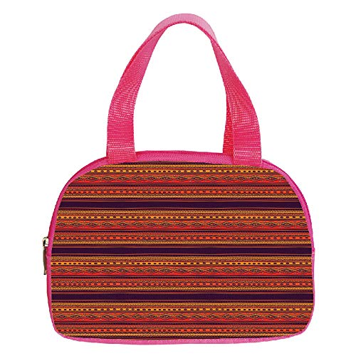 Multiple Picture Printing Small Handbag Pink,Orange,Abstract Hand Drawn Ethno Pattern Artistic Tribal Ancient Borders Doodle Style Decorative,Orange Red Plum,for Girls,Comfortable Design.6.3″x9.4″x1.6