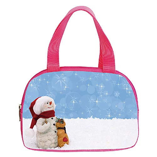 iPrint Strong Durability Small Handbag Pink,Snowman,Winter Time Theme Cute Snowman with Christmas Hat Scarf and Present Happy Holiday Decorative,Multicolor,for Students,3D Print Design.6.3″x9.4″x1.6″