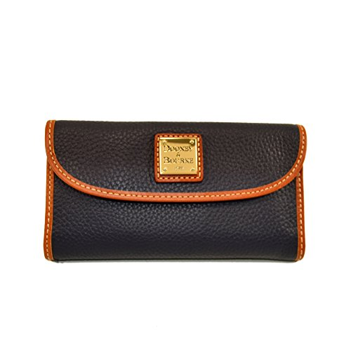 Dooney & Bourke Pebble Leather Continental Clutch Wallet Midnight Blue