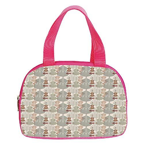 Strong Durability Small Handbag Pink,Music,Classical Instrumets String Quartet Violins Baroque Sonata Decorative,Pale Caramel Warm Taupe Reseda Green,for Students,3D Print Design.6.3″x9.4″x1.6″