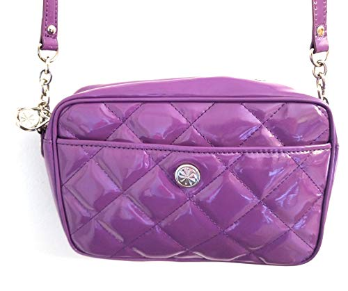 Isaac Mizrahi Live Quilted Patent Crossbody Bag with Strap Purple