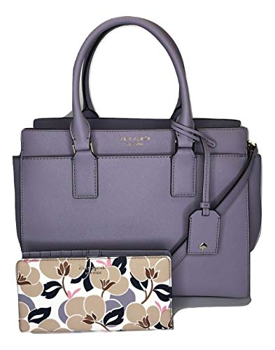 Kate Spade New York Cameron Medium Satchel WKRU5851 bundled with matching Wallet WLRU5418 (Icy Lavender/Breezy Floral)
