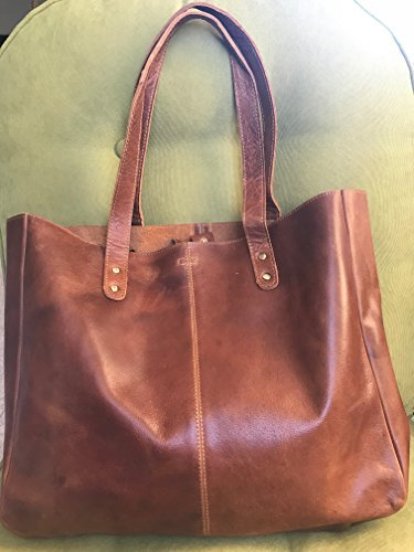 KomalC Genuine Soft Chicago Buff Leather Tote Bag Elegant Shopper Shoulder BagSALE