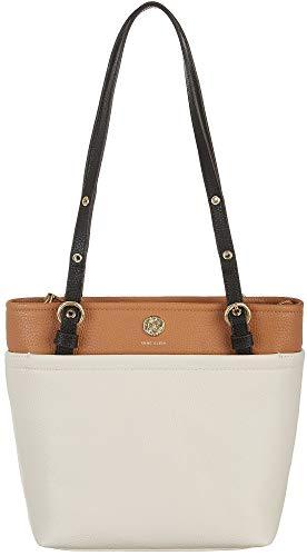 Anne Klein Tri-Tone Small Pocket Tote Handbag One Size Beige/brown/black