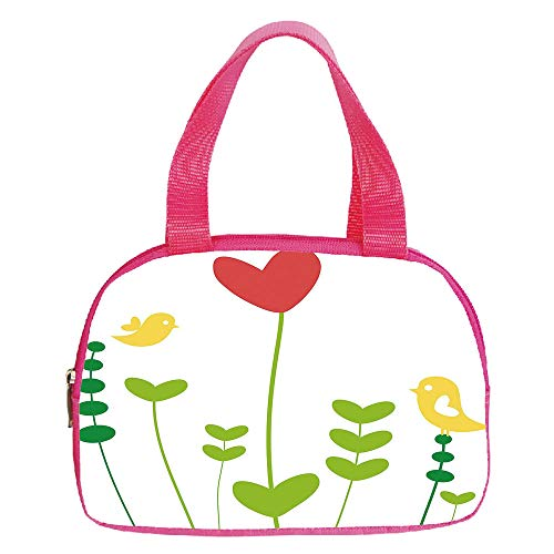 Polychromatic Optional Small Handbag Pink,Bamboo,Image of Bamboo Trees with Sunlight in Rainforest Exotic Wildlife Plants Nature Zen Decor Decorative,Green,for Girls,Print Design.6.3″x9.4″x1.6″