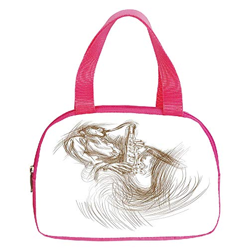 Strong Durability Small Handbag Pink,Jazz Music Decor,Vintage Style Sketch Image of a Jazz Man Playing the Blues on Saxophone with Shades,Brown White,for Students,3D Print Design.6.3″x9.4″x1.6″