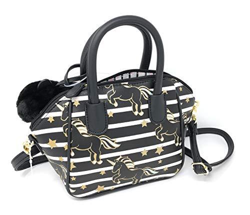 Luv Betsey Unicorn Hobo Handbag | Black/White Stripes with Unicorns and Gold Stars Crossbody Handbag