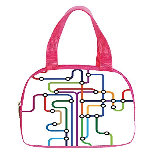 Strong Durability Small Handbag Pink,Map,Colorful Abstract Subway Map Lines and Dots Navigation Guide Modern Underground Railway Decorative,Multicolor,for Students,3D Print Design.6.3″x9.4″x1.6″
