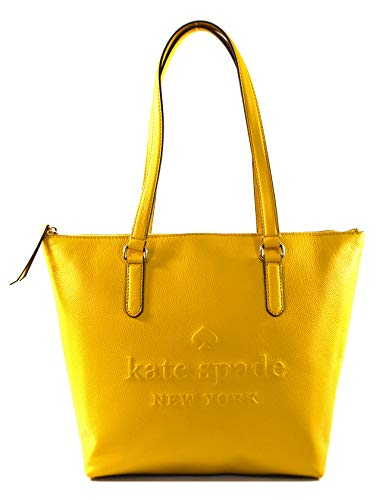 Kate Spade Penny Larchmont Avenue Logo Leather Tote Bag Purse Handbag, Yellow