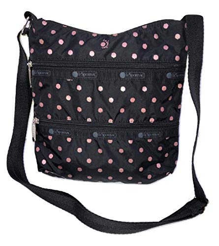 LeSportsac Rose Speckle Dot Kylie Crossbody Handbag, Style 3244/Color D955 (Metallic Rose Gold Speckles)