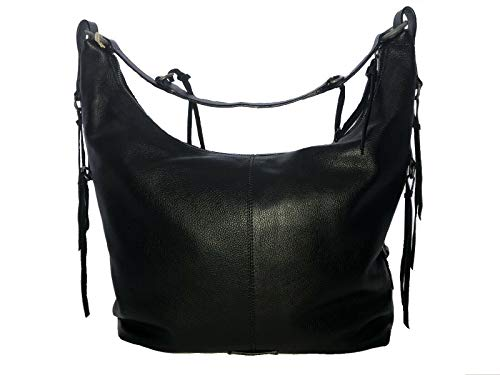 Lucky Brand Jill Hobo Handbag Purse Black Pebbled Leather Purse Bag