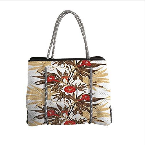 Neoprene Multipurpose Beach Bag Tote Bags,Floral,Exotic Climbing Plant Ivy Flowers Leaves Vintage Blooms Botanical Artwork,Brown Sand Brown Red,Women Casual Handbag Tote Bags