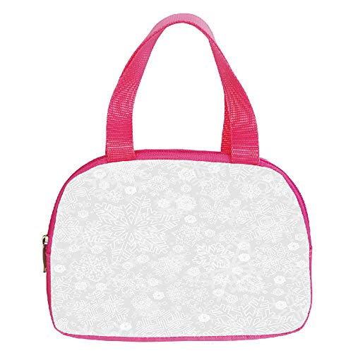 Multiple Picture Printing Small Handbag Pink,Winter,Seasonal Pattern with Festive Ornate Flakes Frost Blizzard Holiday Celebration,Silver White,for Girls,Comfortable Design.6.3″x9.4″x1.6″