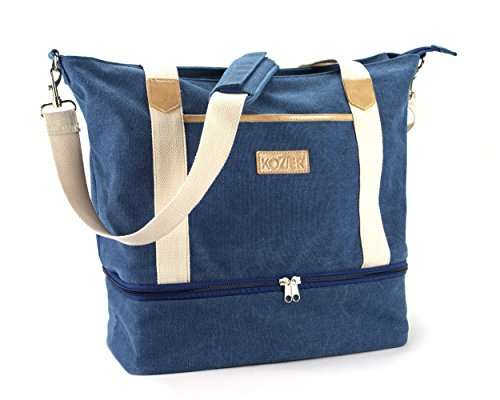 Kozier Women's Canvas Travel Tote Bag, Stylish Overnight Duffle Carry On Weekend Bags