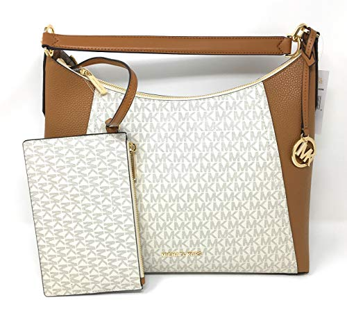 Michael Kors Kimberly Studded Large Shoulder Tote with Pouch Vanilla PVC