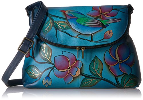 ANNA BY ANUSCHKA HAND PAINTED LARGE FLAP BAG,LONESOME BIRD DENIM