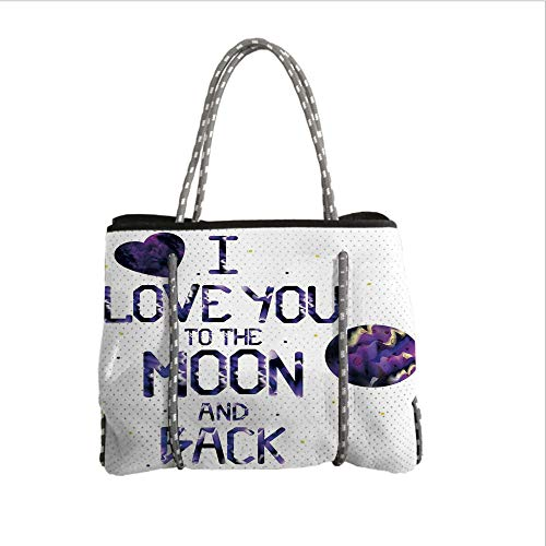 iPrint Neoprene Multipurpose Beach Bag Tote Bags,I Love You,Universe and Planetary Moon Heart Love Concept Milky Way Stylized Illustration Decorative,Dark Purple,Women Casual Handbag Tote Bags