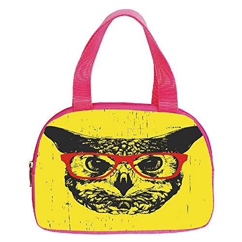 iPrint Strong Durability Small Handbag Pink,Modern,Owl with Glasses Portrait Hipster Nocturnal Animal Grunge Humor Graphic,Dark Grey Yellow Red,for Students,3D Print Design.6.3″x9.4″x1.6″