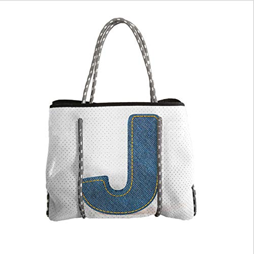 iPrint Neoprene Multipurpose Beach Bag Tote Bags,Letter J,Blue Jean Patterned Denim Alphabet Font Design Capitalized J Letter Cloth Style Decorative,Blue Marigold,Women Casual Handbag Tote Bags