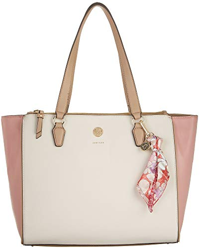 Anne Klein Cherry Blossom Double Zip Tote Handbag One Size Pink/beige