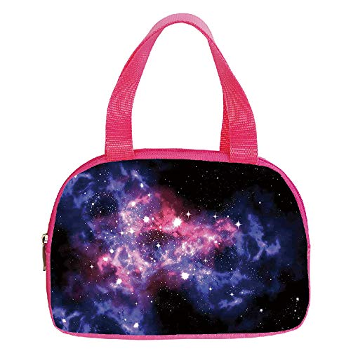 Personalized Customization Small Handbag Pink,Space Decorations,Dusty Gas Cloud Nebula and Star Clusters in the Outer Space Cosmos Solar Deco Print,Navy Purple,for Girls,Personalized Design.6.3″x9.4″x