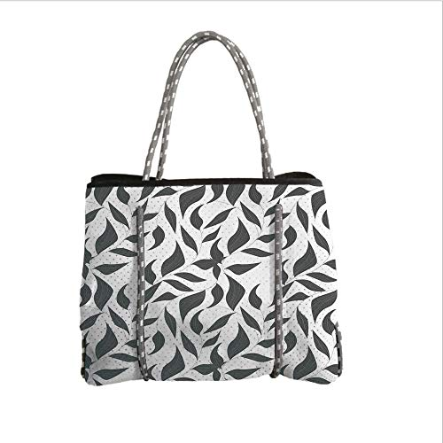 Neoprene Multipurpose Beach Bag Tote Bags,Grey Decor,Abstract Leaves on Vines Pattern Modern Nature with Organic Line Forms Print,Grey and White,Women Casual Handbag Tote Bags